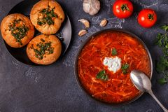 Суп украинца и русских традиционный красный - борщ Стоковые Фотографии RF