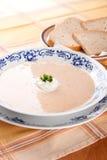 Суп фасоли с овощами и хлебом стоковые изображения