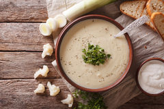 Суп цветной капусты cream и конец-вверх ингридиентов дальше горизонтальный t Стоковые Фотографии RF
