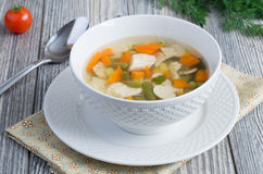Суп цыпленка с грибами Стоковая Фотография