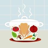 суп цыпленка иллюстрация вектора