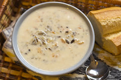 Суп цыпленка и диких рисов стоковые фотографии rf