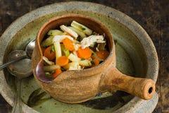 Суп цыпленка и макарон Стоковые Изображения