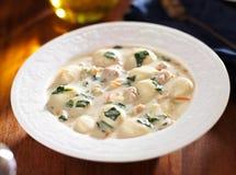 Суп цыпленка и gnocchi в конце шара вверх Стоковая Фотография