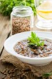 Суп чечевицы Брайна с грибами в шаре Стоковые Фото