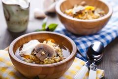 Суп чечевицы с грибами стоковое фото rf