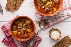 Суп чечевицы с фрикадельками и перцем Стоковые Изображения RF