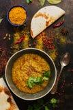 Суп чечевицы толстый с хлебом питы на темной деревенской предпосылке со специями Индийская еда Взгляд сверху, конец-вверх стоковая фотография rf