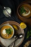 Суп чечевиц Vegan в светотени стоковая фотография rf