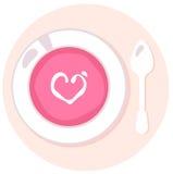 Суп чувствительной розовой влюбленности свежий в круге иллюстрация вектора