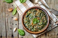Суп шпината чечевицы стоковое изображение rf