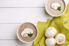 Суп ceam гриба с хлебом Стоковые Фотографии RF