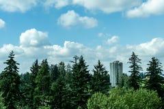Суррей, Канада 30-ое августа 2018: сиротливое современное высокое здание в зеленом лесе с облачным небом Стоковые Фото