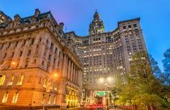 Суррогатное здание здания суда и Манхаттана ` s муниципальное в Нью-Йорке, США Стоковое Фото