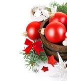 Сусаль рождества с firtree ветви и красными шариками Стоковые Изображения RF