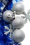 сусаль снежинок голубых шариков серебряная Стоковая Фотография RF