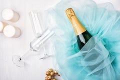 сусаль стекел подарка шампанского коробки бутылки праздничная Стоковое Изображение RF
