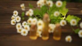 Суть цветков на таблице в красивой бутылке сток-видео