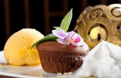 Суфле шоколада с мороженым манго Стоковые Фотографии RF