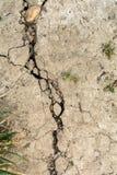Сухая высушенная земля, - вне треснутая почва от горячего изменения температуры Стоковые Фотографии RF