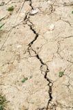 Сухая высушенная земля, - вне треснутая почва от горячего изменения температуры Стоковое Изображение