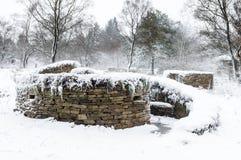 Сухая каменная стена составляет - приюты для животных - северный Йоркшир - Стоковое Изображение