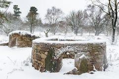 Сухая каменная стена составляет - приюты для животных - северный Йоркшир - Стоковое Изображение RF