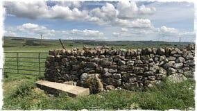 Сухая каменная стена Wensleydale Йоркшир Стоковое Фото