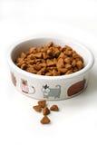 Сухая кошачья еда в керамическом шаре Стоковые Изображения