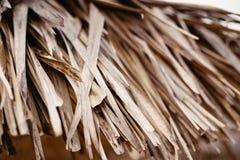 Сухие желтые бежевые коричневые обои предпосылки текстуры соломы сена соломы падения осени, часть крыши attap соломы Стоковое фото RF