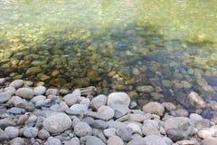 Сухие круглые и мягкие утесы реки стоковые фотографии rf