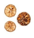 Сухие куски лимона на белой изолированной предпосылке стоковые фотографии rf