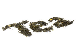 сухие листья жасмина сделали слово чая стоковое фото