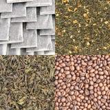 Сухие предпосылки листьев зеленого чая и кофейных зерен Стоковая Фотография