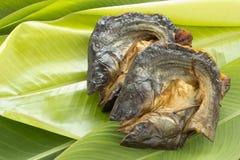Сухие рыбы на свежих листьях банана Стоковое фото RF