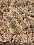 Сухие рыбы сваренные с сезамом Стоковое Изображение