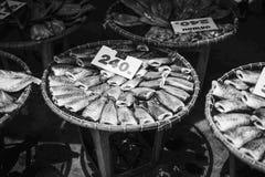 Сухие рыбы Сиама sepat, сырцовый стиль Таиланда еды, черно-белый сверхконтрастный стиль изображения, с биркой цены в килограмм Стоковое Изображение RF