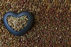 Сухой корм для домашних животных с большим шаром сердца и место для вашего текста Стоковые Фотографии RF