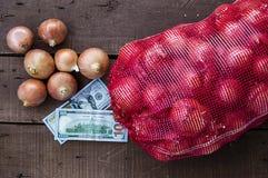 Сухой лук на деревянном поле, увеличение в сухом луке, доллар и лук, повышение цен лука, Стоковые Фото