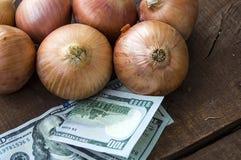 Сухой лук на деревянном поле, увеличение в сухом луке, доллар и лук, повышение цен лука, Стоковая Фотография RF