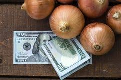 Сухой лук на деревянном поле, увеличение в сухом луке, доллар и лук, повышение цен лука, Стоковое Фото