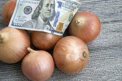Сухой лук на деревянном поле, увеличение в сухом луке, доллар и лук, повышение цен лука, Стоковая Фотография