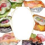 Суши акварели установили красивой вкусной иллюстрации японской кухни Квадрат орнамента границы рамки иллюстрация штока