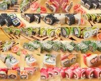 Суши еды коллажа азиатские стоковая фотография rf