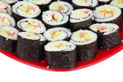 суши красного цвета плиты Стоковые Изображения RF