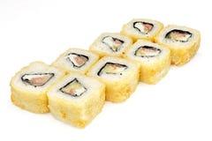 Суши, крен, японские суши морепродуктов, крен на белой предпосылке Стоковая Фотография