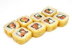 Суши, крен, японские суши морепродуктов, крен на белой предпосылке Стоковое Изображение