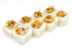 Суши, крен, японские суши морепродуктов, крен на белой предпосылке Стоковое Фото