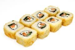 Суши, крен, японские суши морепродуктов, крен на белой предпосылке Стоковое Изображение RF