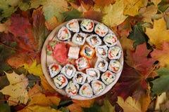 Суши установленные на листья осени Стоковые Изображения